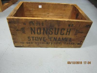 Vintage Advertising Non such stove enamel  Wood Wooden  Box Crate Country Store