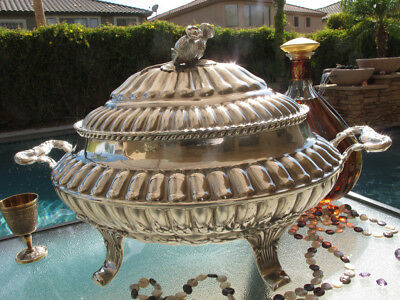 Old Huge Tureen Spain Poppies Sterling Silver Heavy Covered Dish Bowl Rare Large