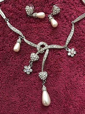 Special Occasion Ivory Pearl and Diamond Hearts Necklace And Earrings Set