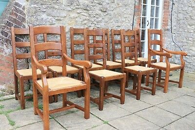 10 Lovely French Solid Oak Ladder Back Rush Seat Farmhouse Chairs by Antix