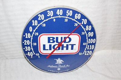 """Vintage Budweiser Bud Light Beer 12"""" Metal Glass Gas Oil Thermometer Sign~Works"""