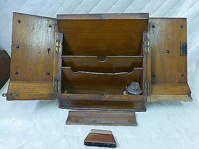 Antique 19th Century Letter Writing Box Stationery Desk Inkwell Wood Oak