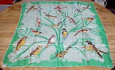 """VTG Vanette Creations Silk Scarf Songbirds Green French Style Hand Rolled 31"""""""