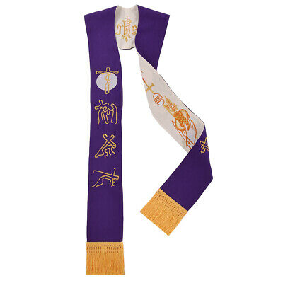 Blessume Priest Reversible Stole Pastor Mass Stole Cross Grape Figure Embroidery