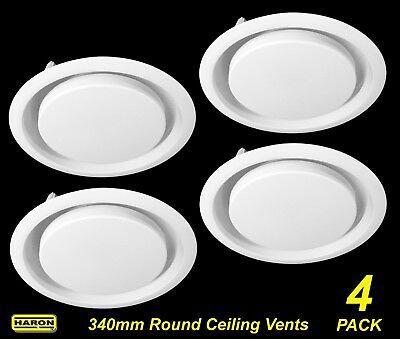 4 x Ceiling Mount Round Air Vent / Grille with Flyscreen Snap-In 340mm diameter