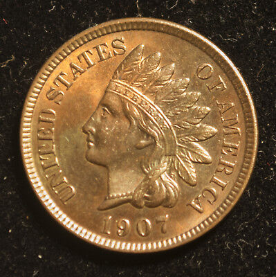 1907 Indian Head Cent: GEM BU UNC full diamonds, glossy surfaces, REALLY nice!