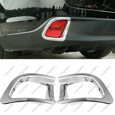 Fits 2014-2018 Toyota Highlander Chrome Rear Bumper Fog Light Lamp Cover Decor
