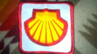 SHELL OIL PATCH new not used iron on. Red trim embroidered  white background.