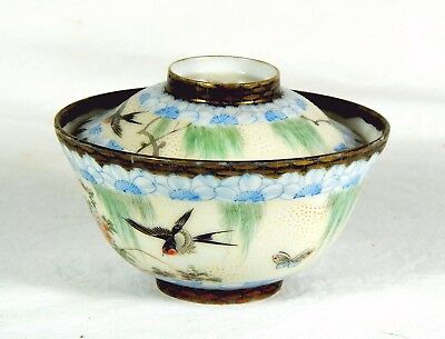 MEIJI PERIOD RICE BOWL + COVER Early Japenese Swallows Butterflies w/Moriage