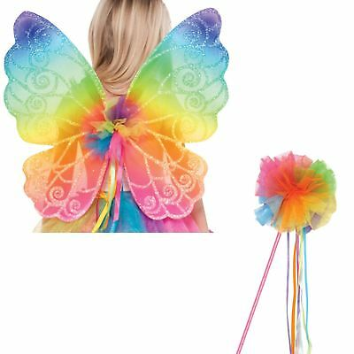 Kids Rainbow Fairy Wings and Wand Fancy Dress Costume Accessory Kit Book Week