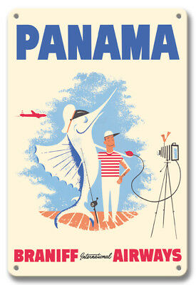 Panama - Braniff Airways - Big Game Fishing 1957 - 8in x 12in Vintage Metal Sign