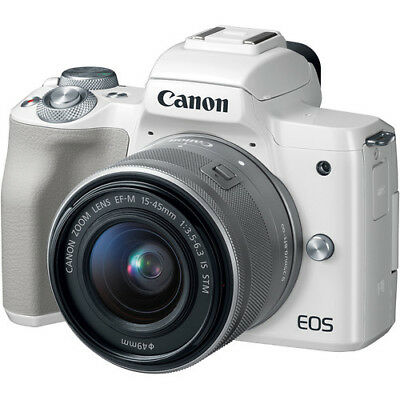 Canon EOS M50 White EF-M 15-45mm IS STM Lens Silver Multi Ship in EU
