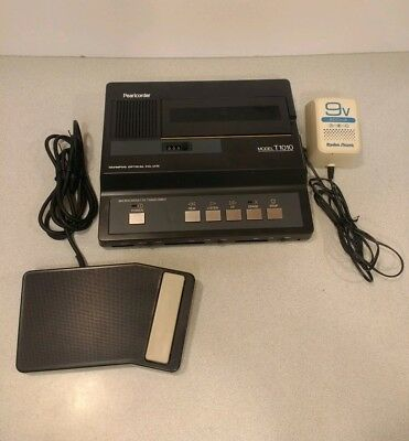 Olympus Pearlcorder T1010 Microcassette Transcriber with Foot Pedal TESTED Japan