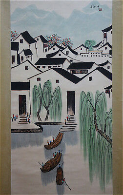 Excellent Chinese 100% Hand Painting & Scroll Landscape By Wu Guanzhong 吴冠中 ZGYD