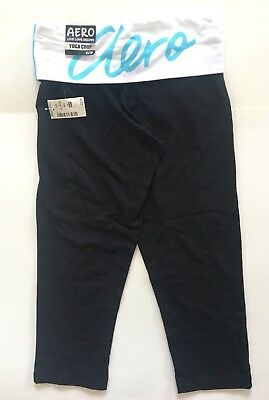 2cc8bd47e036a Aeropostale Womens Crop Capri Yoga Pants Black w/ White & Blue Aero Logo  Band XS