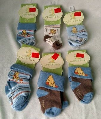 Classic Winnie The Pooh Baby Boy Or Reborn Doll Booties 6 Pairs Socks 0-12M New