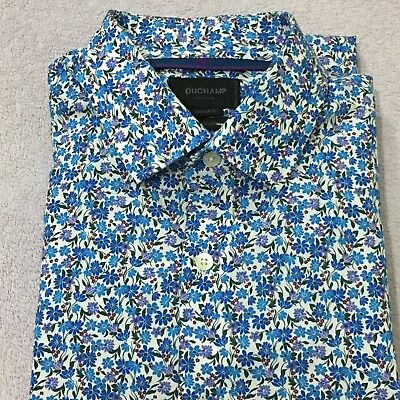 "Mens Floral Shirt DUCHAMP 17"" 43cm BLUE WHITE FLORAL Tailored Fit Button Cuff"