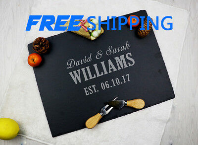 Personalized Couple Engraved Cheese Board, Custom Mr &Mrs Nature Slate Platter