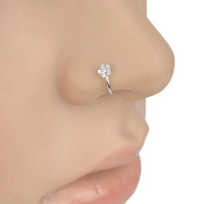 KD_ Small Thin 5 Rhinestones Flower Nose Hoop Stud Ring Body Piercing Jewelry