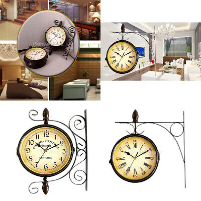 Retro Antique Double Sided Wall Mount Station Clock Garden Home Decor
