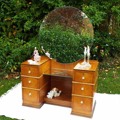 Art Deco Dressing Table Anique 1920's Maple Furniture, Nude Lady mirror panel