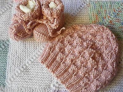 Beanie & Booties Set, Girl Baby, Powder Pink, Hand-Knitted By Me. Soft!