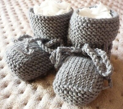 Newborn Baby Booties, 100% Merino Wool, Hand-Knitted By Me. Grey
