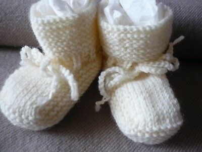 Baby Booties, 100% Baby Wool, Hand-Knitted By Myself. Cream