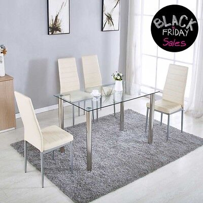 5 Piece Dining Table Set with 4 Chairs Glass Metal Kitchen Room Furniture New