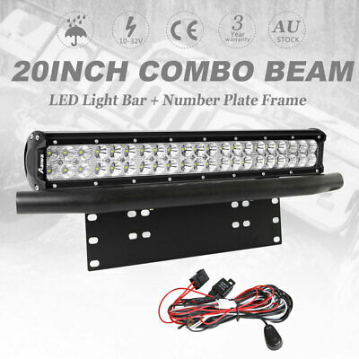 20 inch 294W CREE LED Light Bar SPOT FLOOD Driving Work Number Plate Frame