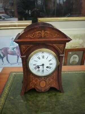 Very Pretty Art Nouveau Antique Inlaid Mahogany Mantle Clock Fully Working