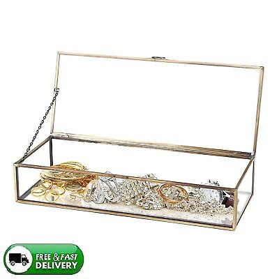 Vintage Brass Metal & Clear Glass Mirrored Shadow Box Jewelry Display Case New