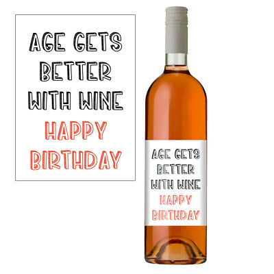 """Funny Wine Bottle Label Gift For Men & Women """"Age Gets Better With Wine"""""""