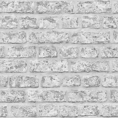 Rustic Grey Brick Effect Wallpaper Arthouse 889606 Feature Wall New