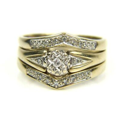 Ladies/womens, 9carat/9ct gold 3 ring set, inset with diamonds, UK size S