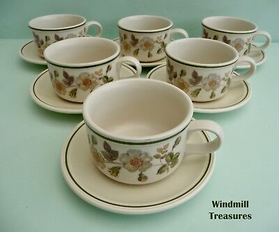6 Vtg Marks & Spencer 'Autumn Leaves' Large Breakfast Cups & Saucers - Fab