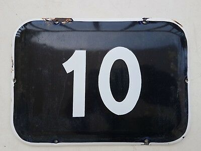 BIG vintage ISRAELI enamel porcelain number 10 house sign # 10