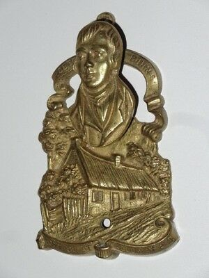 Antique Vintage Victorian Solid Brass Door Knocker Robert Burns Scottish Poet