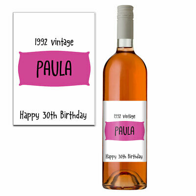 Funny 30th Birthday 30 Today Personalised Wine Bottle Label Gift Women 1989 Pink