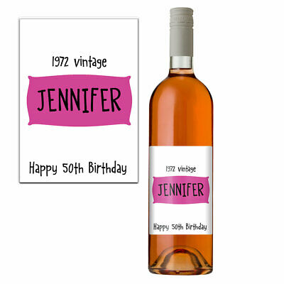 Funny 50th Birthday 50 Today Personalised Wine Bottle Label Gift Women 1968 Pink
