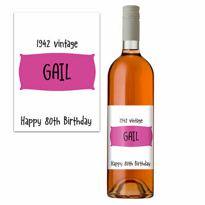Funny 80th Birthday 80 Today Personalised Wine Bottle Label Gift Women 1939 Pink