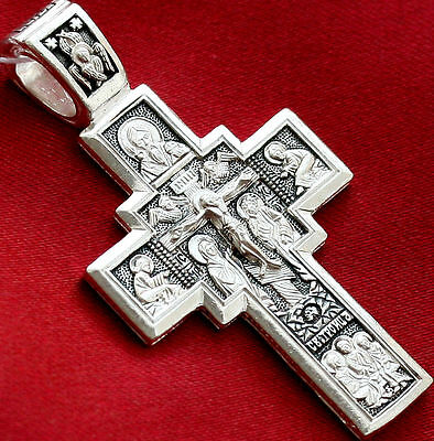 Lord Almighty Icon Russian Orthodox Cross Solid Silver 925 Authentic Jewelry