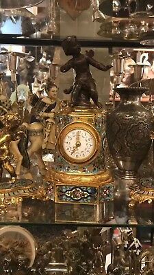 Antique 8 Day French 19th C Rare Bronze Champleve Enamel Three Piece Clock Set