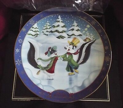 Pepe Le Pew & Penelope Winter Romance Collector Plate Warner Bros Limited w/Box