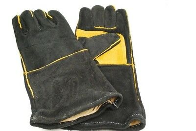 1 Pairs Leather Welders Gloves, Cotton Lined, Black & Gold Premium Quality Large