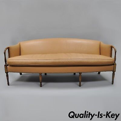 "Sheraton Federal Style Caramel Tan Leather Sofa Couch by Southwood 81"" Long"