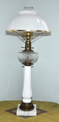 """Vintage Antique 33"""" Tall GWTW Victorian Oil Electric Lamp Milk Glass Dome Shade"""