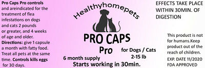 Pro Caps Flea Control Killer for Dogs Cats 2-15 lb 6 month prevention kills eggs