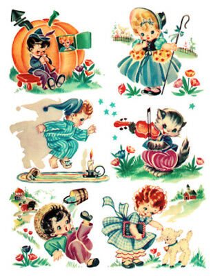 Vintage Image Retro Children Nursery Rhymes Transfers Waterslide Decals An837