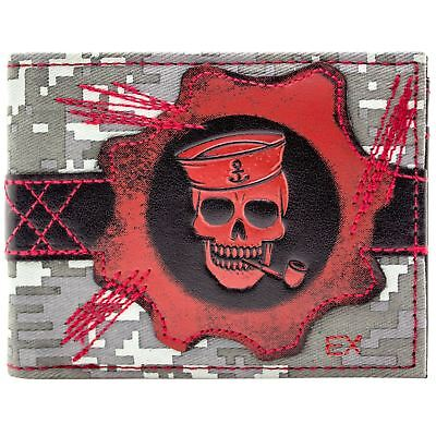 New Official Pirate Crew Cog Emblem Camouflage Grey Id & Card Bi-Fold Wallet